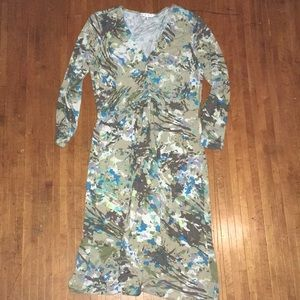 CAbi knit front jersey knit paint splatter dress